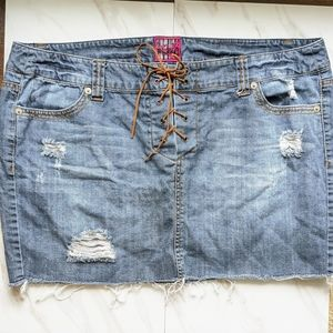 TORRID Distressed Boho Lace Up Front Jean Skirt